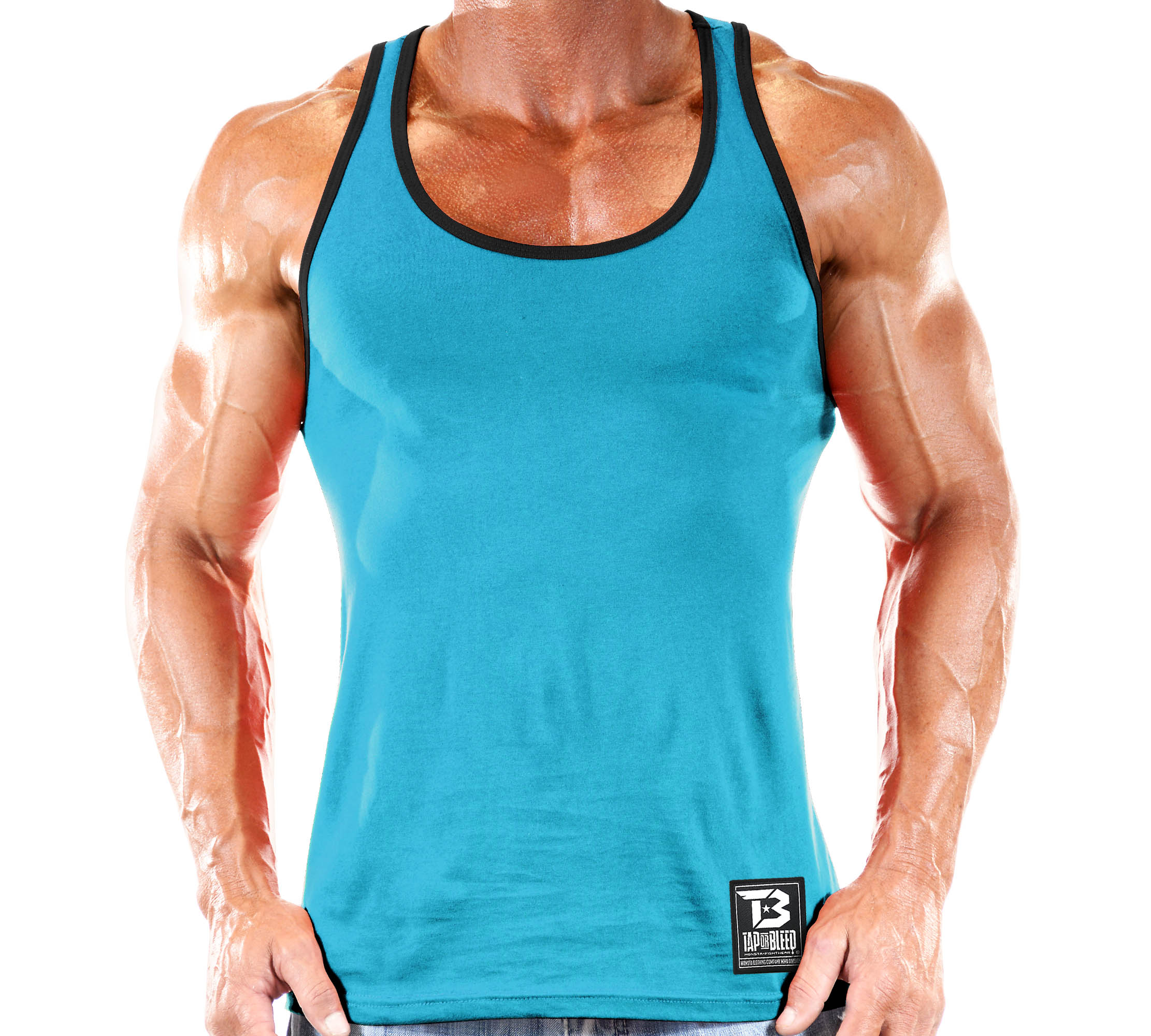 Workout Tops: Stringer Tank Top Tap Or Bleed Workout Clothes-000: Blue