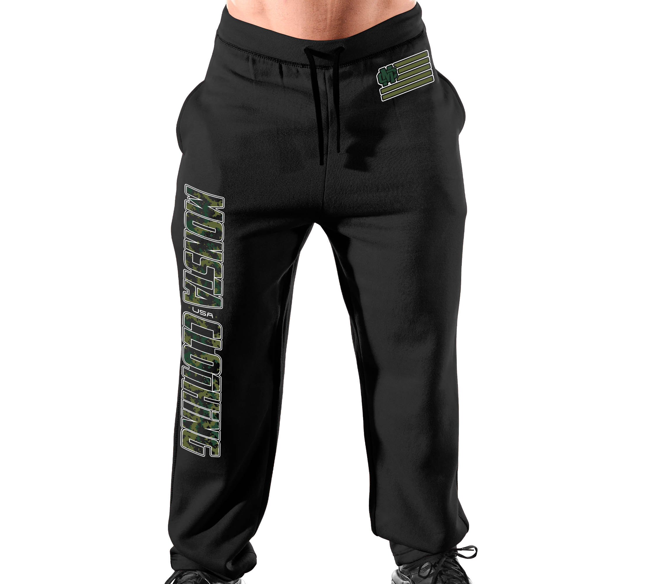 Monsta Clothing Men/'s Open Bottom Tap or Blead Sweatpants For Gym Grey